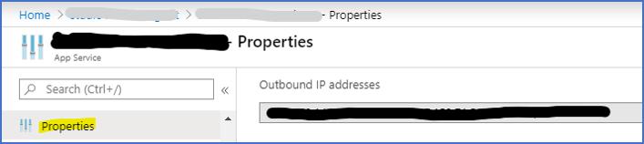 Azure Portal: Outbound IP adressen van appservice