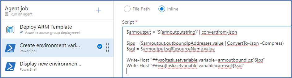 Figuur 7 - Azure DevOps: PowerShell script voor omvormen ARM output