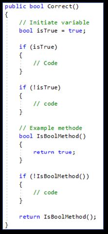 Meest voorkomende C#: programmeerfouten Redundant boolean literal correct