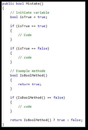 Meest voorkomende C#: programmeerfouten Redundant boolean literal