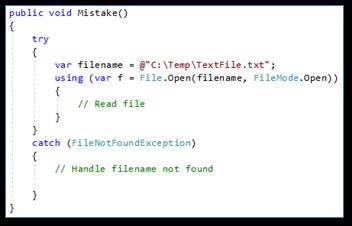 Meest voorkomende C# programmeerfouten: Unhandled Exogenous Exceptions