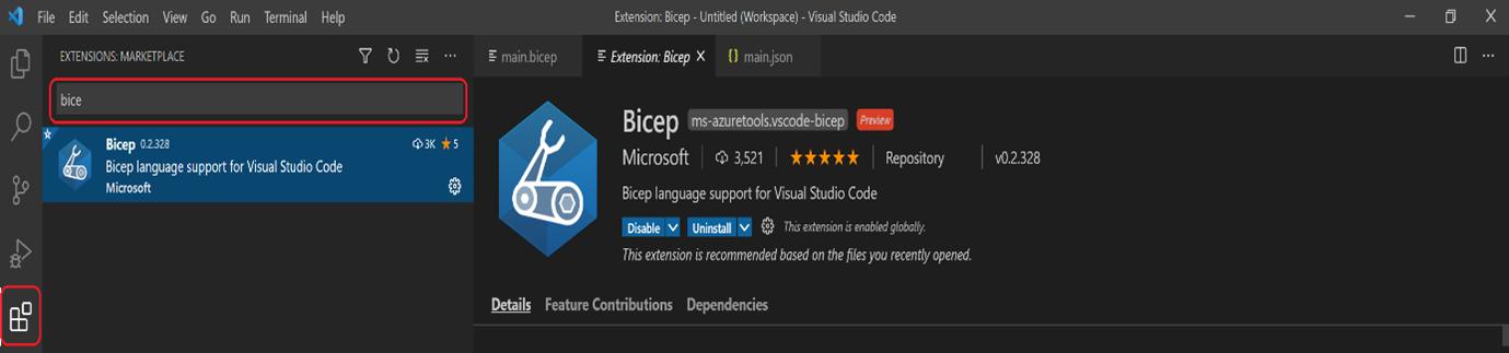Installatieprocedure Bicep VS Code Extension
